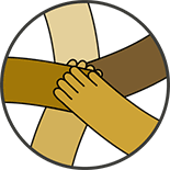 Illustration of five hands of diverse skin colors stacking hands in the spirit of teamwork