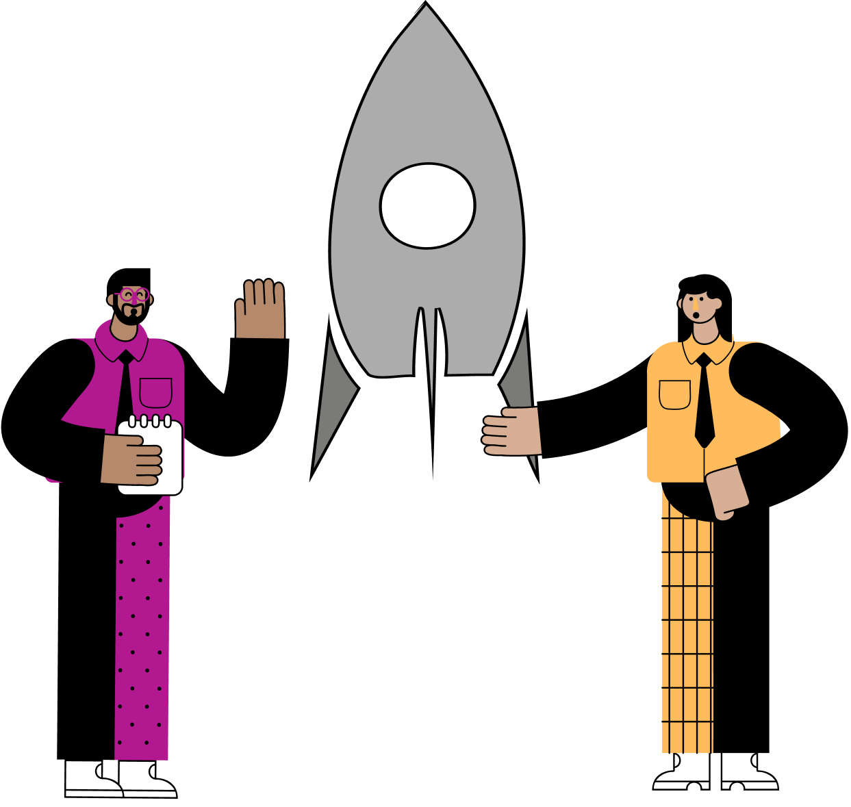 Illustration of two people standing in front of a rocket blasting off to symbolize launching a startup.
